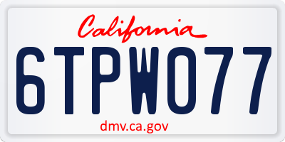 CA license plate 6TPW077