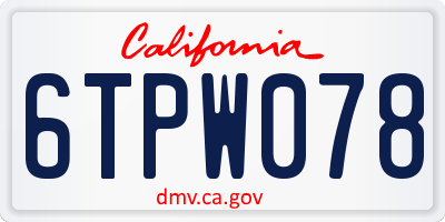 CA license plate 6TPW078