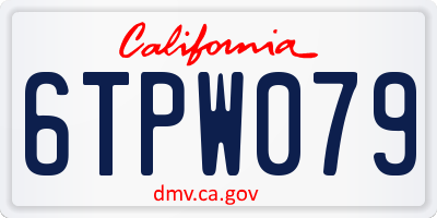 CA license plate 6TPW079