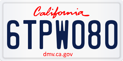 CA license plate 6TPW080