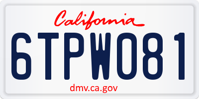 CA license plate 6TPW081