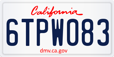 CA license plate 6TPW083
