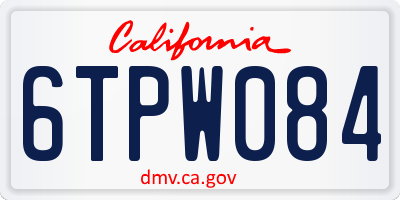 CA license plate 6TPW084