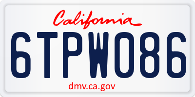 CA license plate 6TPW086