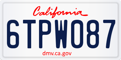CA license plate 6TPW087