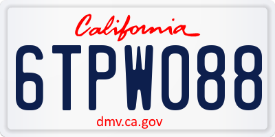 CA license plate 6TPW088