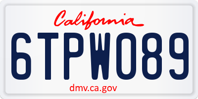 CA license plate 6TPW089