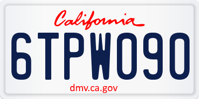 CA license plate 6TPW090