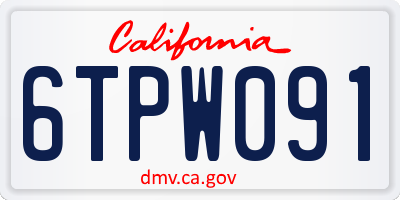 CA license plate 6TPW091