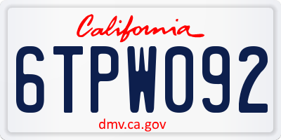 CA license plate 6TPW092