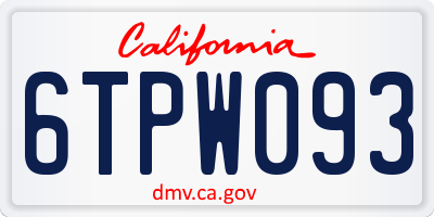 CA license plate 6TPW093