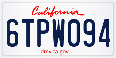 CA license plate 6TPW094