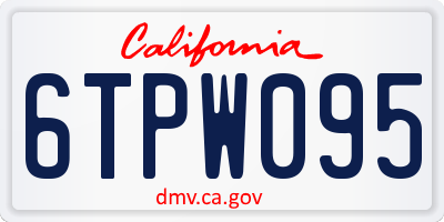CA license plate 6TPW095