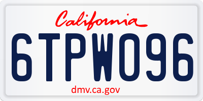 CA license plate 6TPW096