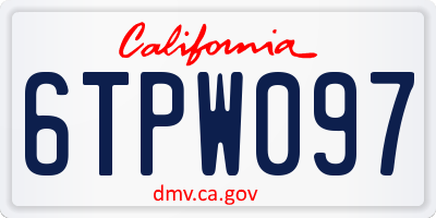 CA license plate 6TPW097