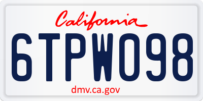CA license plate 6TPW098