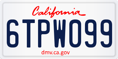 CA license plate 6TPW099