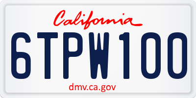 CA license plate 6TPW100