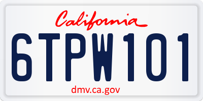 CA license plate 6TPW101