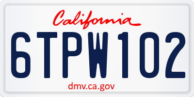 CA license plate 6TPW102