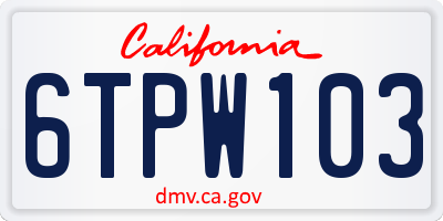 CA license plate 6TPW103