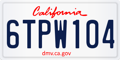 CA license plate 6TPW104