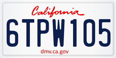 CA license plate 6TPW105