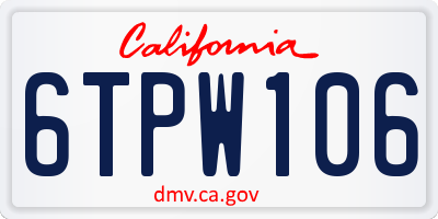 CA license plate 6TPW106