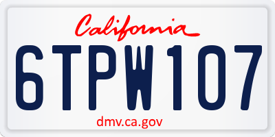 CA license plate 6TPW107
