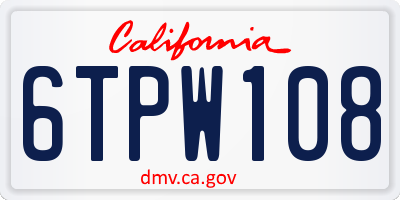 CA license plate 6TPW108