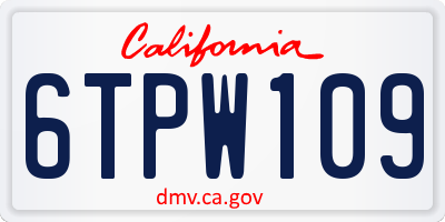 CA license plate 6TPW109