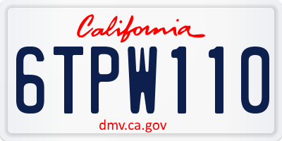 CA license plate 6TPW110