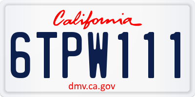 CA license plate 6TPW111