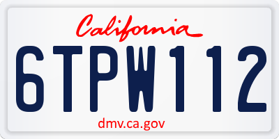 CA license plate 6TPW112