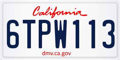 CA license plate 6TPW113