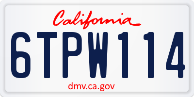 CA license plate 6TPW114