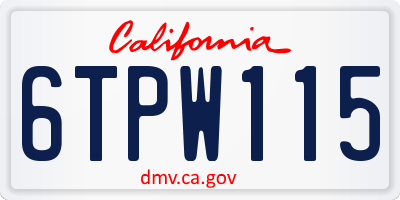 CA license plate 6TPW115