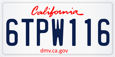 CA license plate 6TPW116