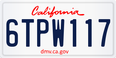 CA license plate 6TPW117