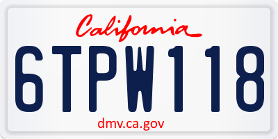 CA license plate 6TPW118