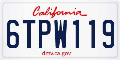 CA license plate 6TPW119