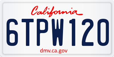 CA license plate 6TPW120
