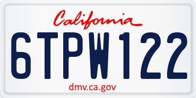 CA license plate 6TPW122