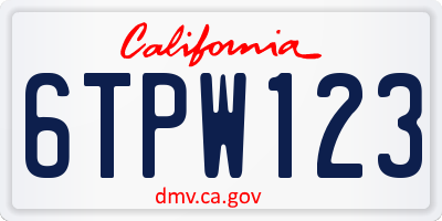 CA license plate 6TPW123
