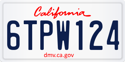 CA license plate 6TPW124
