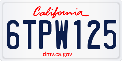 CA license plate 6TPW125