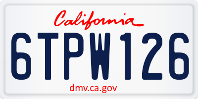 CA license plate 6TPW126