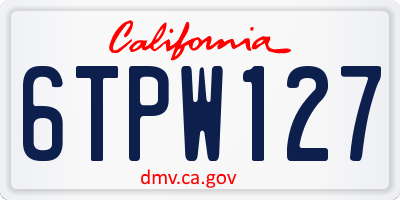 CA license plate 6TPW127