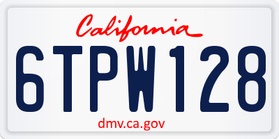 CA license plate 6TPW128