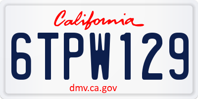 CA license plate 6TPW129